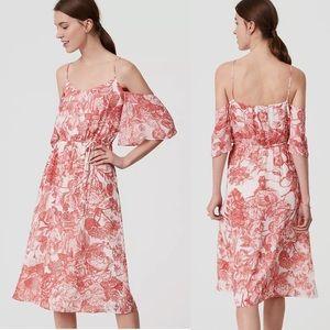NWT LOFT Petites Botanic Cold Shoulder Dress